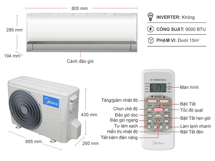Máy lạnh Midea 1 HP MSAFC-10CRN8