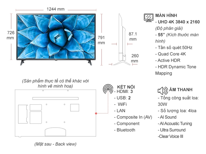 Smart Tivi LG 4K 55 inch 55UN7300PTC