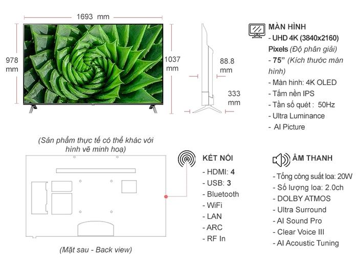Smart Tivi LG 4K 75 inch 75UN8000PTB