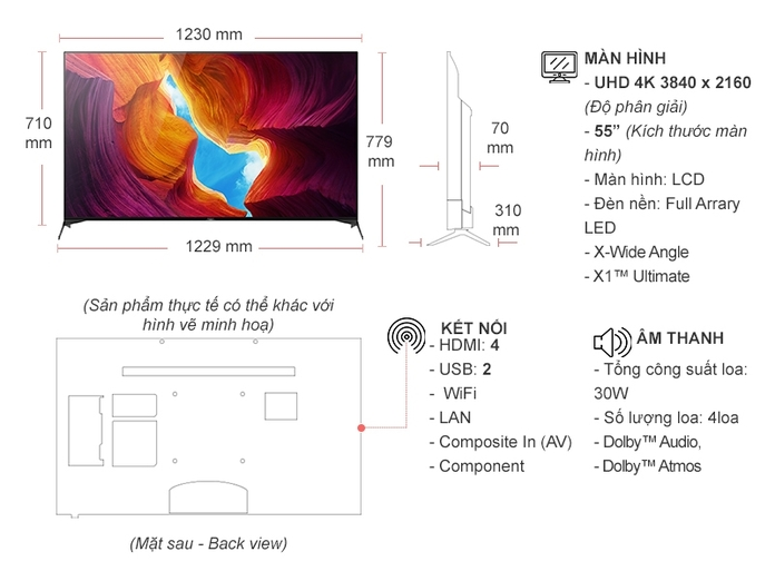 Android Tivi Sony 4K 55 inch KD-55X9500H