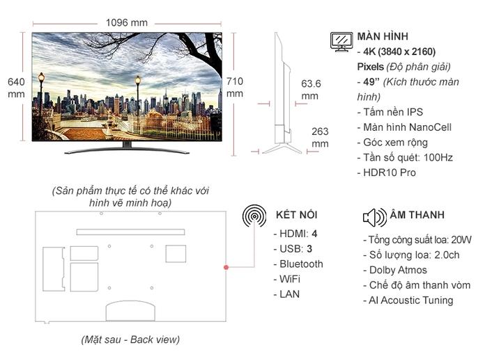 Smart Tivi NanoCell LG 4K 49 inch 49NANO86TNA
