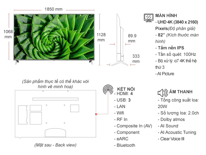 Smart Tivi LG 4K 82 inch 82UN8000PTB