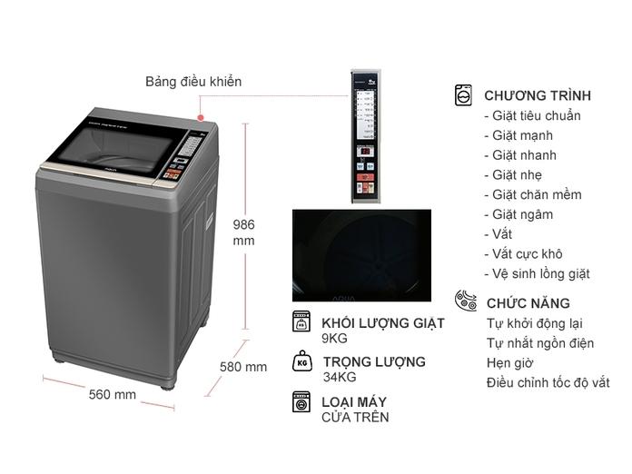 Máy giặt Aqua Inverter 9 kg AQW-DK90CT.S