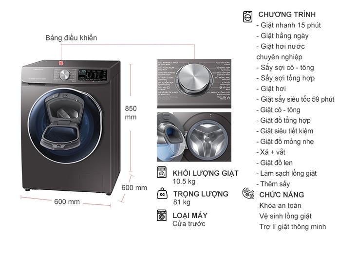 Máy giặt sấy Samsung 10.5 Kg WD10N64FR2X