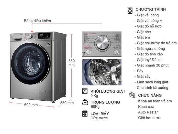 Máy giặt LG Inverter 9 Kg FV1409G4V