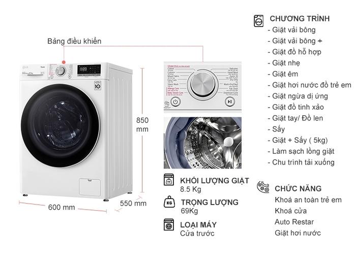 Máy giặt LG Inverter 8.5 Kg FV1408G4W