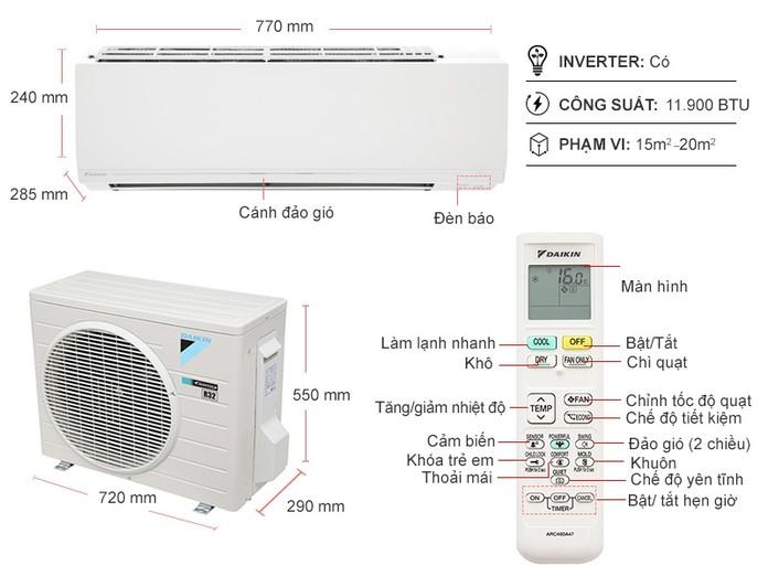 Máy lạnh Daikin Inverter 1.5 HP ATKC35UAVMV