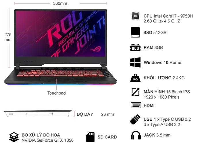 Laptop ASUS ROG Strix G531GD - AL034T giá rẻ tại Nguyễn Kim