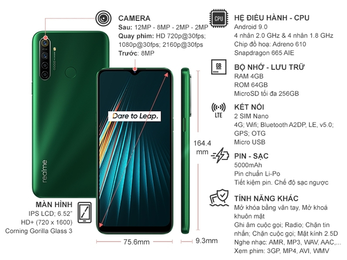 Realme 5i (4GB/64GB) Xanh lá cây